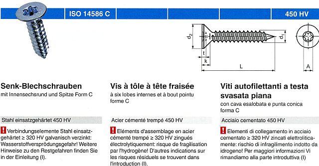 DIN 7982 Edelstahl A2 V2A Rostfrei Blechschrauben Senkkopf mit Spitze PROTECH 30 St/ück Senk-Blechschrauben mit Innensechsrund TX ISO 14586-2,2x4,5